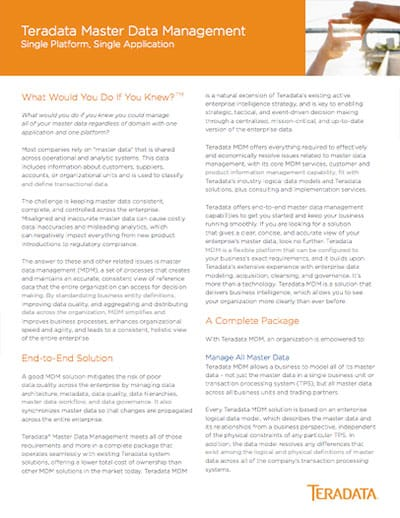 Teradata Master Data Management Datasheet