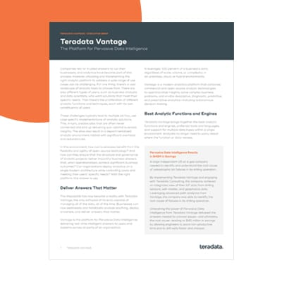 Check out this business intelligence whitepaper about Teradata Vantage.