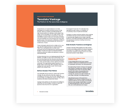 Teradata Vantage™: The Platform for Pervasive Data Intelligence executive brief